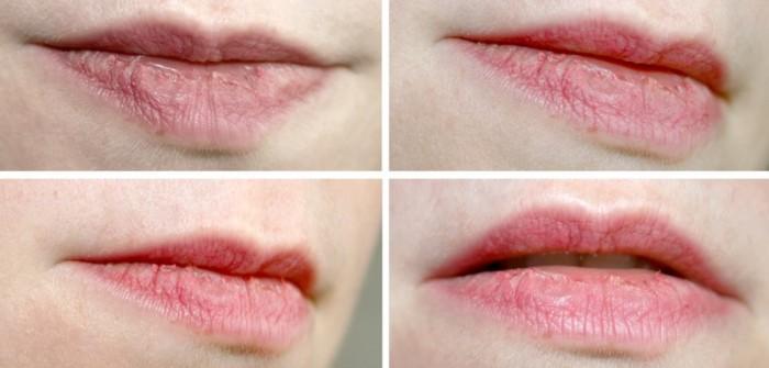 Après une journée, sans retouche. Rouge à lèvres posé sur des lèvres préalablement hydratées !